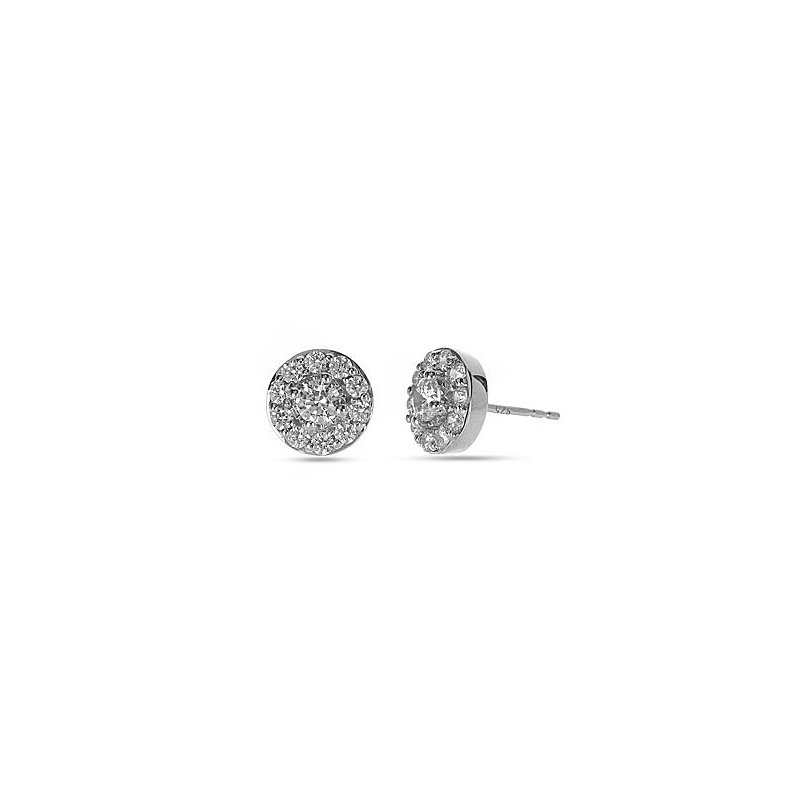 BB Impex 14K WG Diamond Circular Halo Forever Center of My Universe Stud Earring RBL Center 1/8 cts.