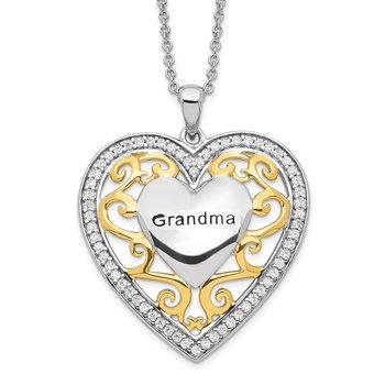 Sterling Silver & Gold-plated Grandma 18in Heart Necklace