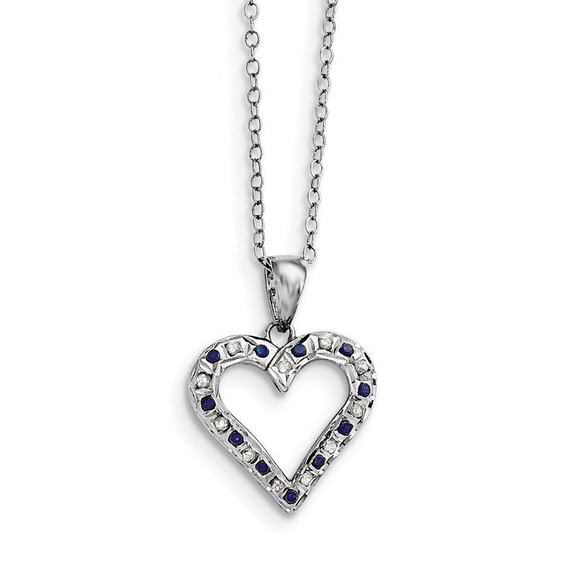 Quality Gold Sterling Silver & Platinum-plated Dia. & Sapphire 18in Heart Necklace