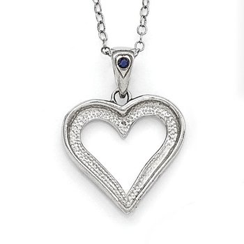 SS Diamond Mystique Platinum-plated Dia. & Sapphire 18in Heart Necklace