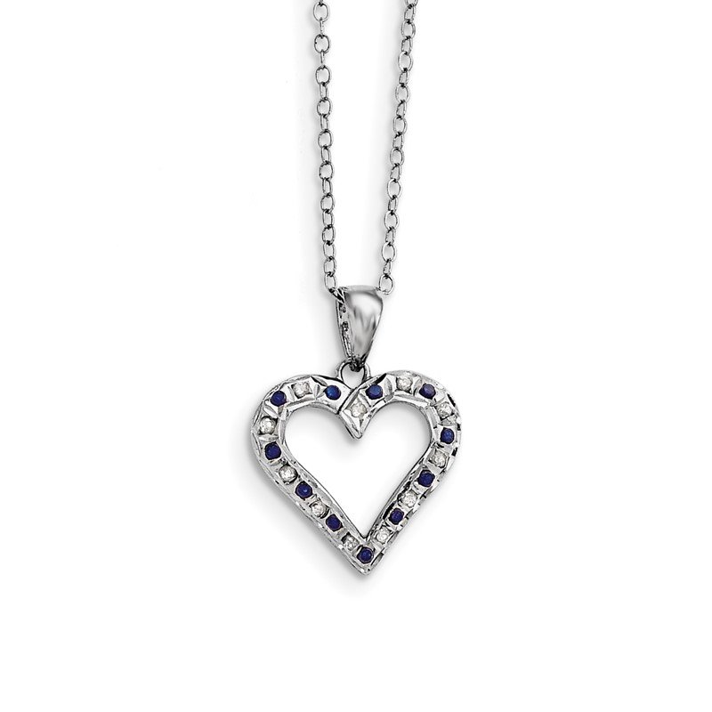 JC Sipe Essentials SS Diamond Mystique Platinum-plated Dia. & Sapphire 18in Heart Necklace