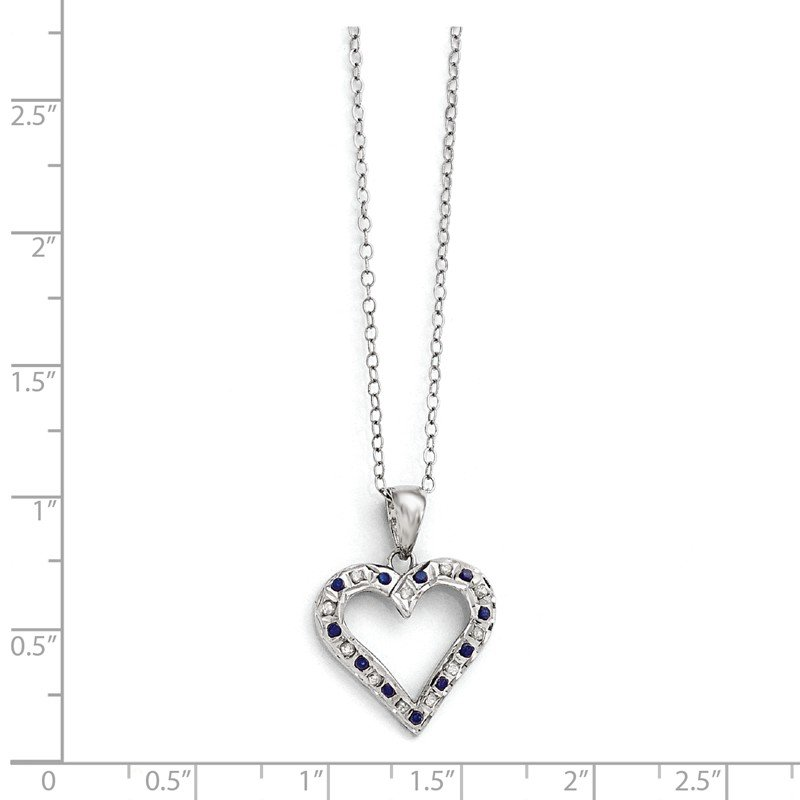 Quality Gold SS Diamond Mystique Platinum-plated Dia. & Sapphire 18in Heart Necklace