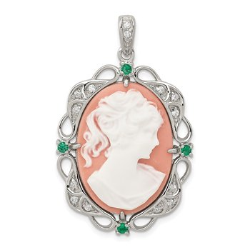 Sterling Silver RH-plated Green Glass Clear CZ Plastic Pink Cameo Pendant