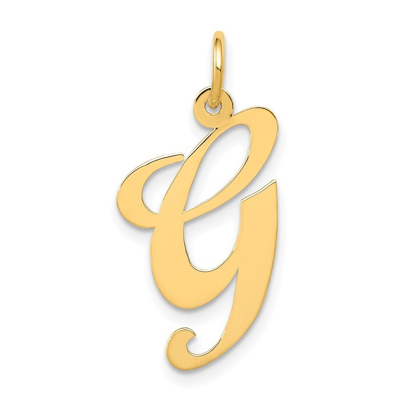 Quality Gold 14k Large Fancy Script Letter G Initial Charm