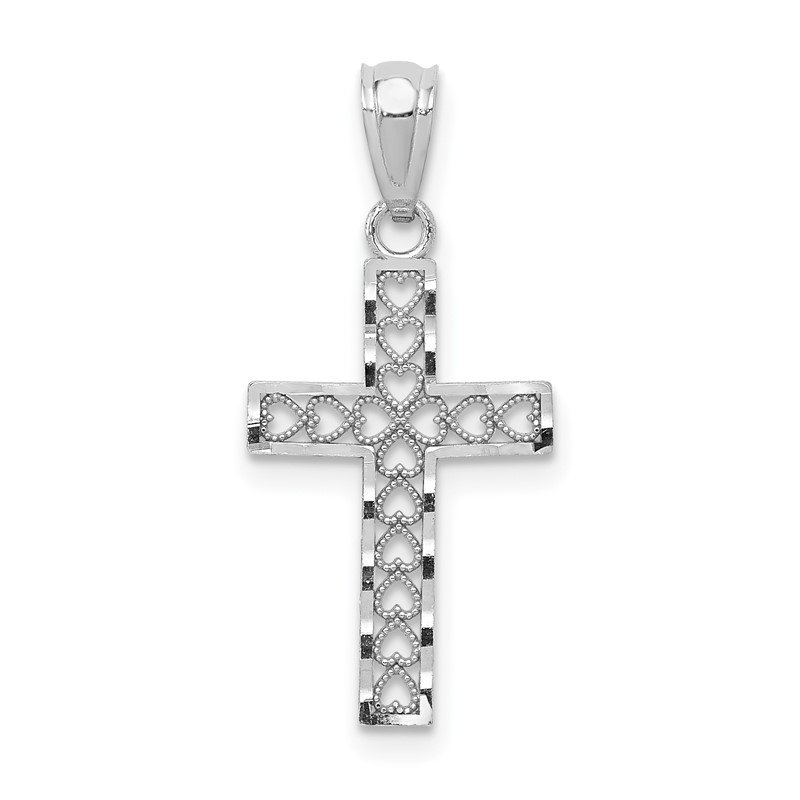Quality Gold 14k White Gold Cross Pendant