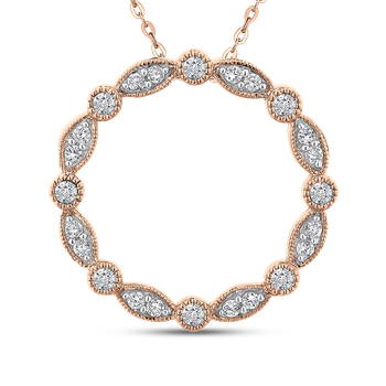 10K Rose Gold 1/3 ct White Diamond Round Circle Fashion Pendant with Chain