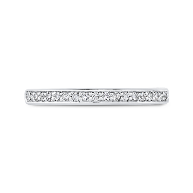 Carizza Round Diamond Half-Eternity Wedding Band In 14K Two-Tone Gold