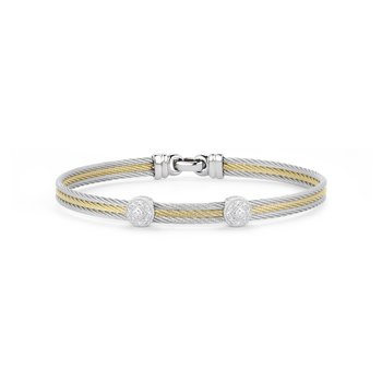 Grey & Yellow Cable Classic Stackable Bracelet with Double Round Station set in 18kt White Gold