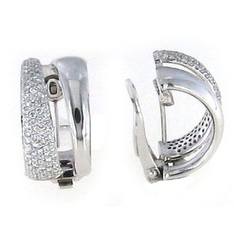 #26025 Of 18Kt Gold 2 Row Diamond Earrings