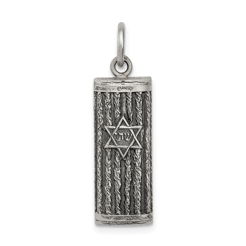 Quality Gold Sterling Silver Antiqued Mezuzah Pendant