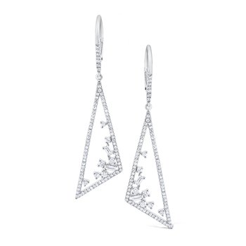 Diamond Triangular <b>Mosaic</b> Earrings Set in 14K White Gold