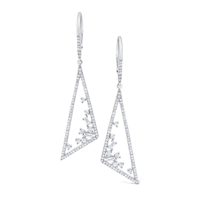 MAZZARESE Fashion Diamond Triangular <b>Mosaic</b> Earrings Set in 14K White Gold
