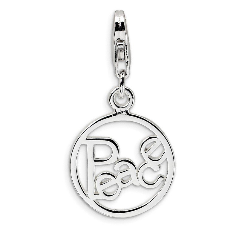 Quality Gold Sterling Silver Polished Peace in Circle w/Lobster Clasp Charm