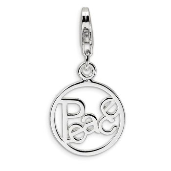 SS RH Polished PEACE in Circle w/Lobster Clasp Charm