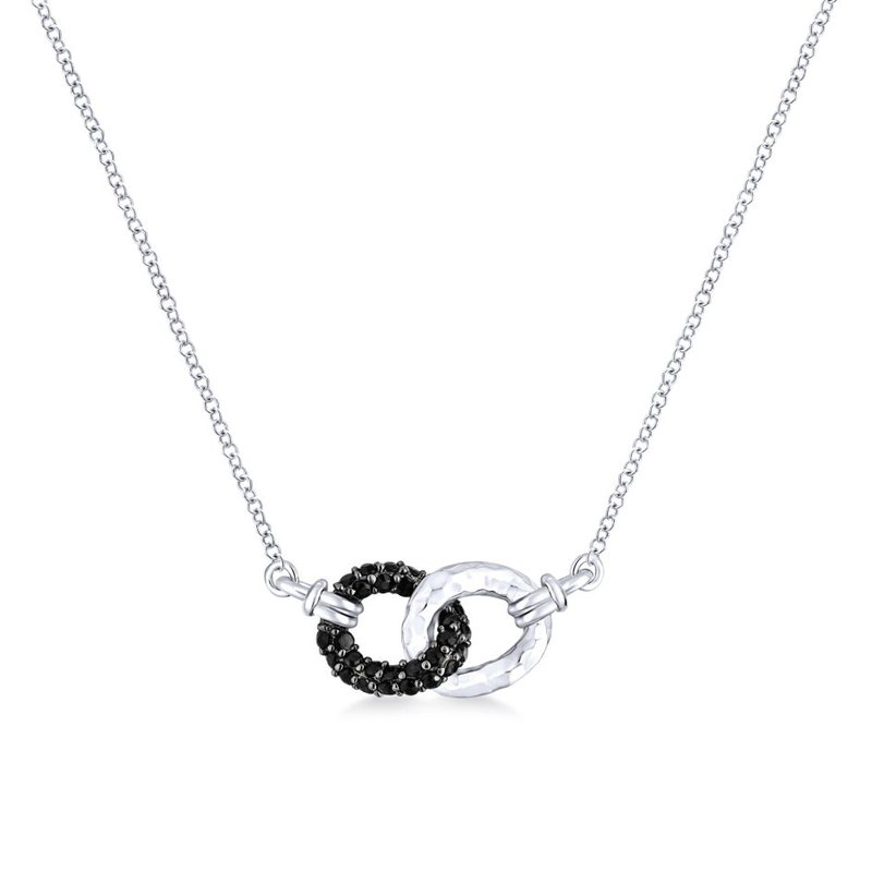 925 Sterling Silver and Black Spinel Interlocking Loops Fashion Necklace
