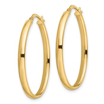 Leslie's 14k Polished Oval Hoop Earrings