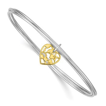 Sterling Silver Rhodium-plated Polished Gold Tone Heart Bangle