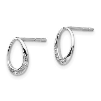 SS White Ice .02 ct Diamond Post Earrings