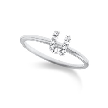 "Diamond Typewriter Initial ""U"" Ring"