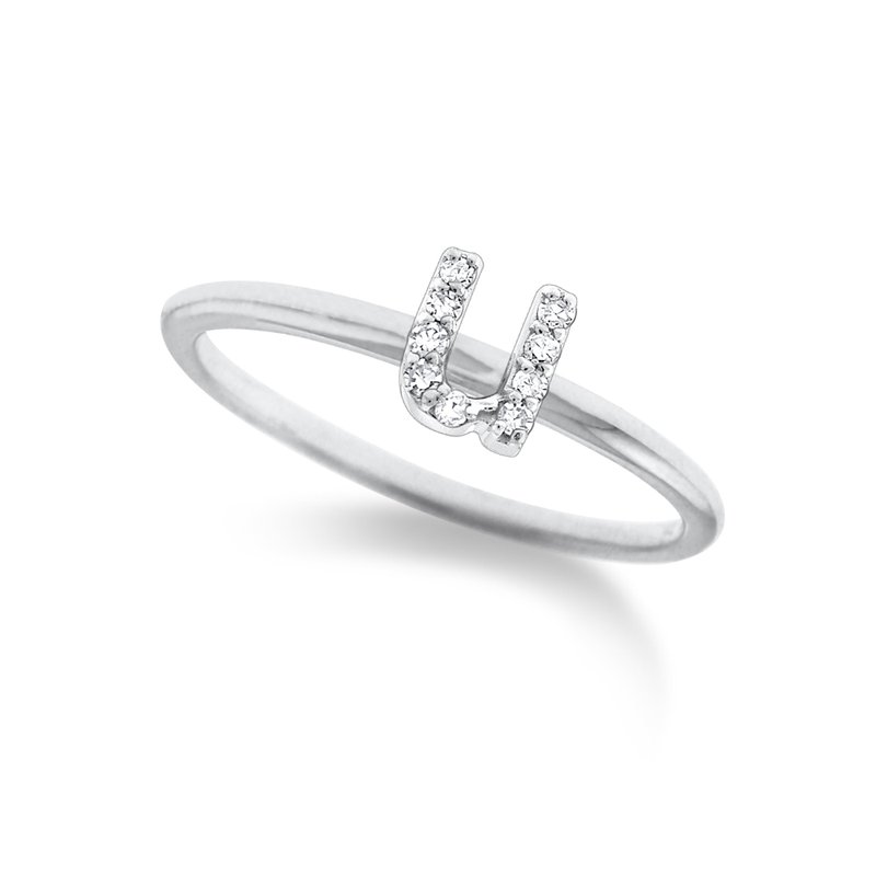 "KC Designs Diamond Typewriter Initial ""U"" Ring"