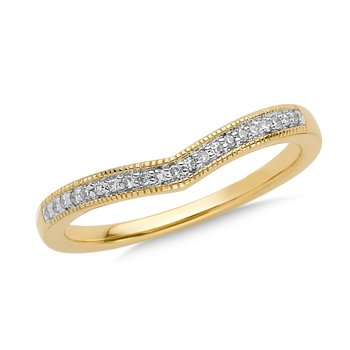 Prong set Diamond Stackable V Ring 14k Yellow Gold