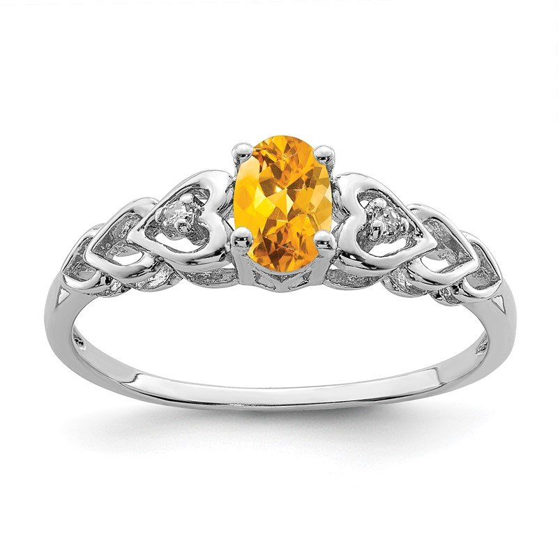 J.F. Kruse Signature Collection Sterling Silver Rhodium-plated Citrine & Diam. Ring