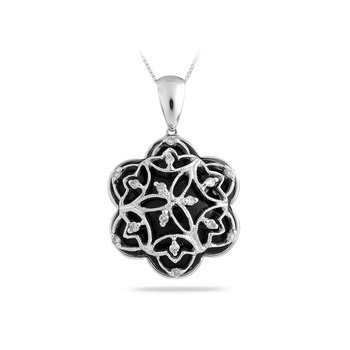 14K WG Onyx and Diamond Fashion Pendant
