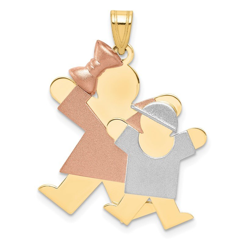 Quality Gold 14k Tri-Color Big Girl and Little Boy Engravable Charm