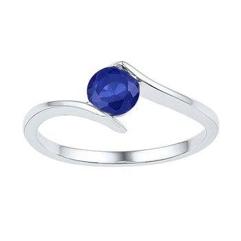 10kt White Gold Womens Round Lab-Created Blue Sapphire Solitaire Ring 3/4 Cttw