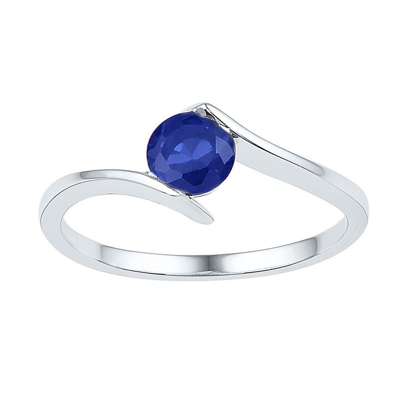 Kingdom Treasures 10kt White Gold Womens Round Lab-Created Blue Sapphire Solitaire Ring 3/4 Cttw