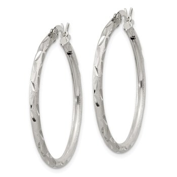 Sterling Silver Satin Diamond-cut 2x230mm Hoop Earrings