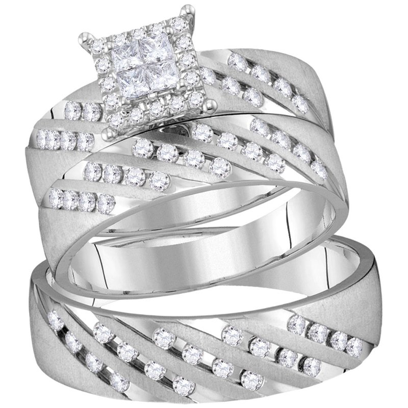 Kingdom Treasures 14kt White Gold His & Hers Princess Diamond Cluster Matching Bridal Wedding Ring Band Set 7/8 Cttw