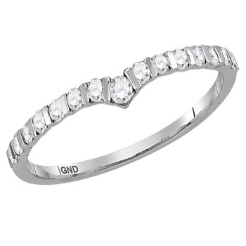 14kt White Gold Womens Round Diamond Chevron Stackable Band Ring 1/4 Cttw