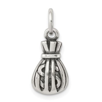 Sterling Silver Antiqued Money Bag Charm
