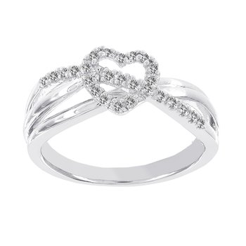 Sterling Silver 1/8Cct Diamond Heart and Sash Promise Ring