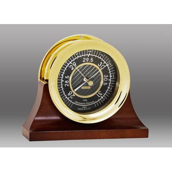 "4 1/2"" Carbon Fiber Barometer in Brass on Contemporary Base"