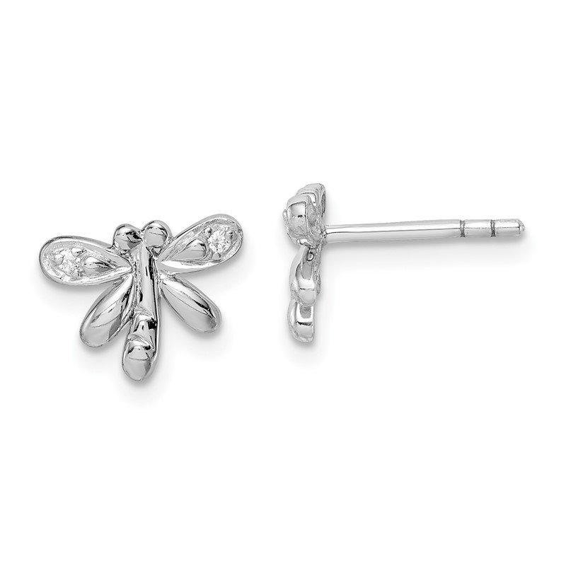 Quality Gold Sterling Silver Rhodium-plated Childs CZ Dragonfly Post Earrings