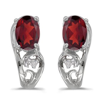 10k White Gold Oval Garnet And Diamond Earrings