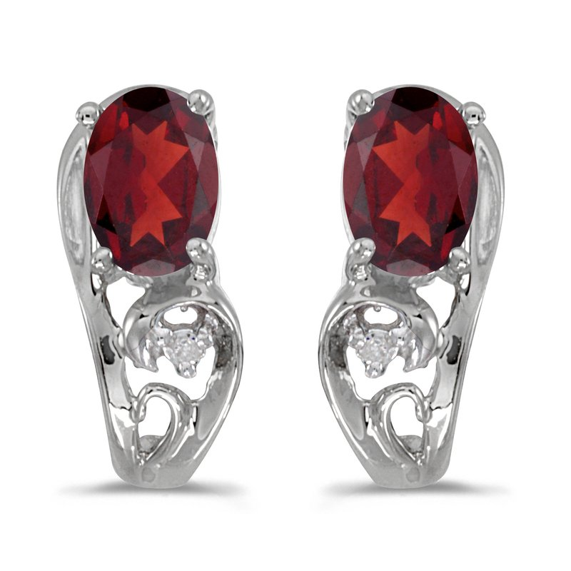 Color Merchants 10k White Gold Oval Garnet And Diamond Earrings