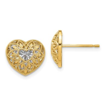 14K w/ Rhodium D/C Filigree Heart Earrings