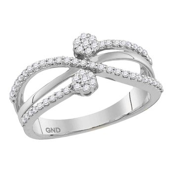 10kt White Gold Womens Round Diamond Flower Cluster Crossover Band Ring 1/3 Cttw