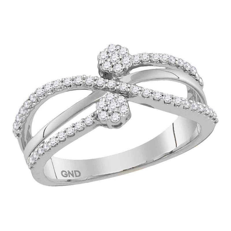 Kingdom Treasures 10kt White Gold Womens Round Diamond Flower Cluster Crossover Band Ring 1/3 Cttw