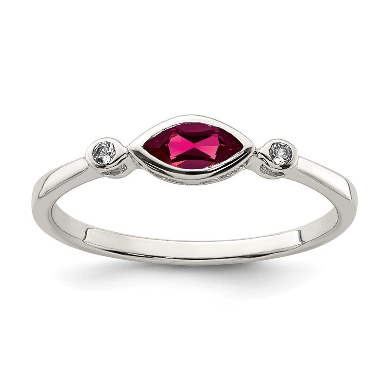 Quality Gold Sterling Silver Polished Created Ruby and White Topaz Ring