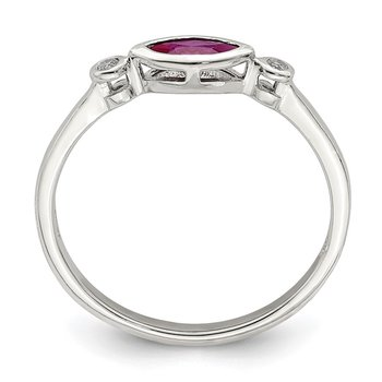 Sterling Silver Polished Created Ruby and White Topaz Ring
