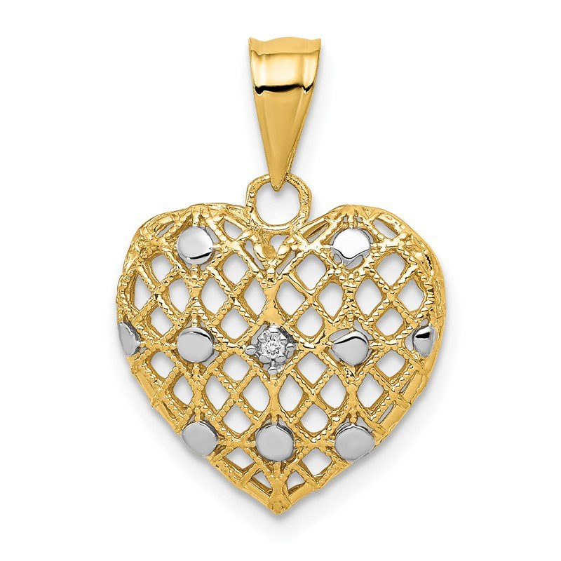 Quality Gold 14k and White Rhodium 1/2pt Diamond Heart Pendant