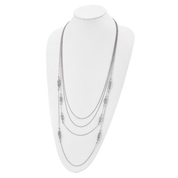 Leslies Sterling Silver Polish Filigree Multi-strand Fancy Necklace