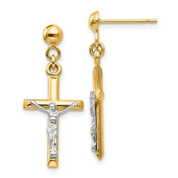 14k Two-tone Hollow Crucifix Earrings