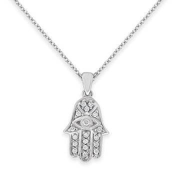 Diamond Hamsa Necklace in 14k White Gold with 18 Diamonds weighing .18ct tw.