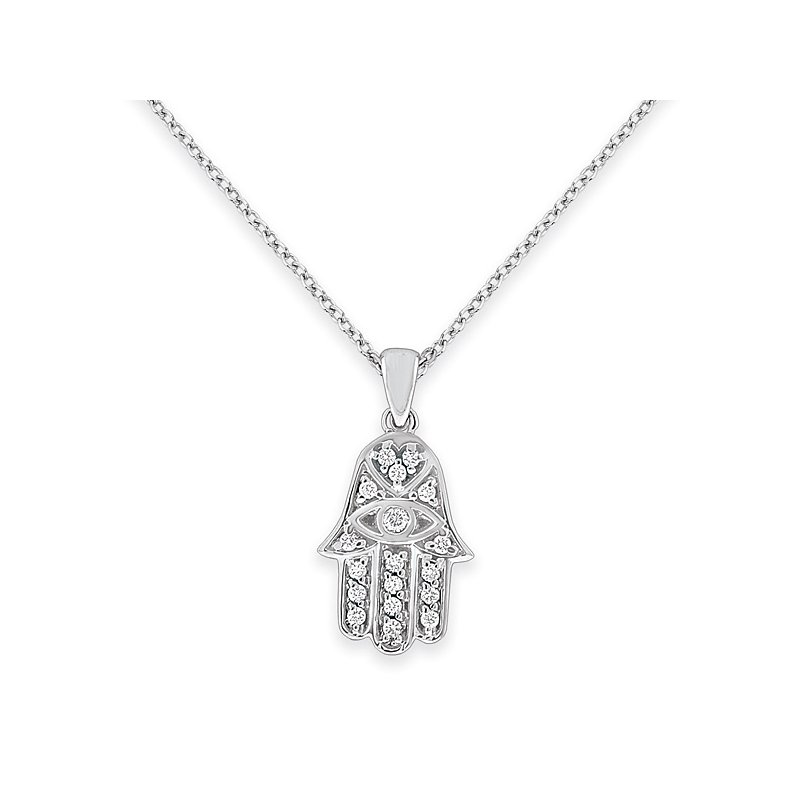 KC Designs Diamond Hamsa Necklace in 14k White Gold with 18 Diamonds weighing .18ct tw.