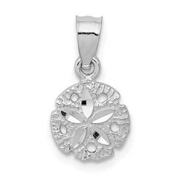 14k White Gold Sand Dollar Pendant